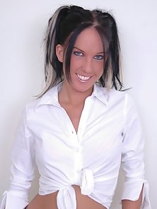 Hot black haired chick gets her pussy banged from different positions