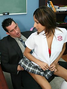 Cute petite private schoolgirl takes a huge cock in her tight little pussy