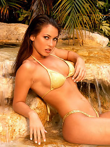 Jaimi Miller yellow bikini waterfall