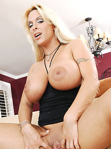 Sexy blonde mom with perfect tits rides a young cock