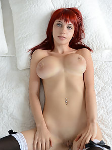Red Haired Horny Chick in Black Stocking Having Big Boobs Shows Naked Body