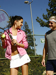 Check this young bitch with no morals fuck and suck old horny tennis coach