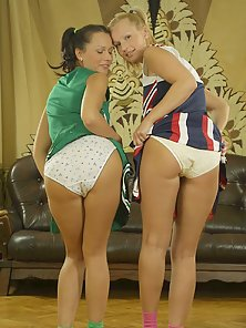 Nude Teen Cheerleaders Kissing