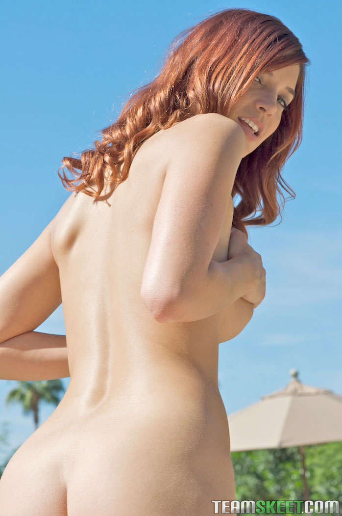 Fine Ass Redhead Babe In A Bikini Gets Naked By The Pool -1288