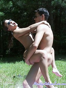 Adam and Eve having sex outdoors