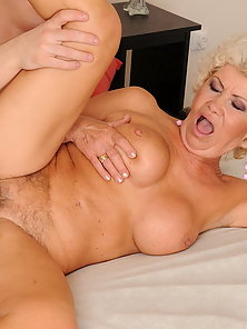 Horny granny gives private lesson for young boy