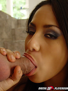 Jenaveve Jolie dressed up in a school girl uniform sucks a cock, gets fucked, and licks cum off a gl