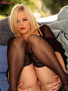 Alexis Texas wearing sexy stockings and spreading her ass
