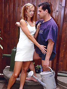 Sexy redhead gets fucked in her tight asshole in backyard