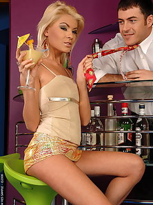 Hot blonde babe having sex with a bartender guy