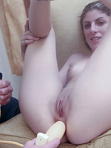 Stunning Pigtail Katie Gets Nipple Licked and Anal Pounded By a White Dildo