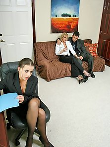 Busty office whores Penny Flame and Eve Lawrence gets nailed at work