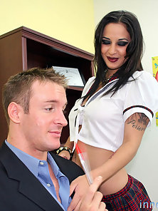 Naughty goth schoolgirl uses her nice tits and round ass to get out of