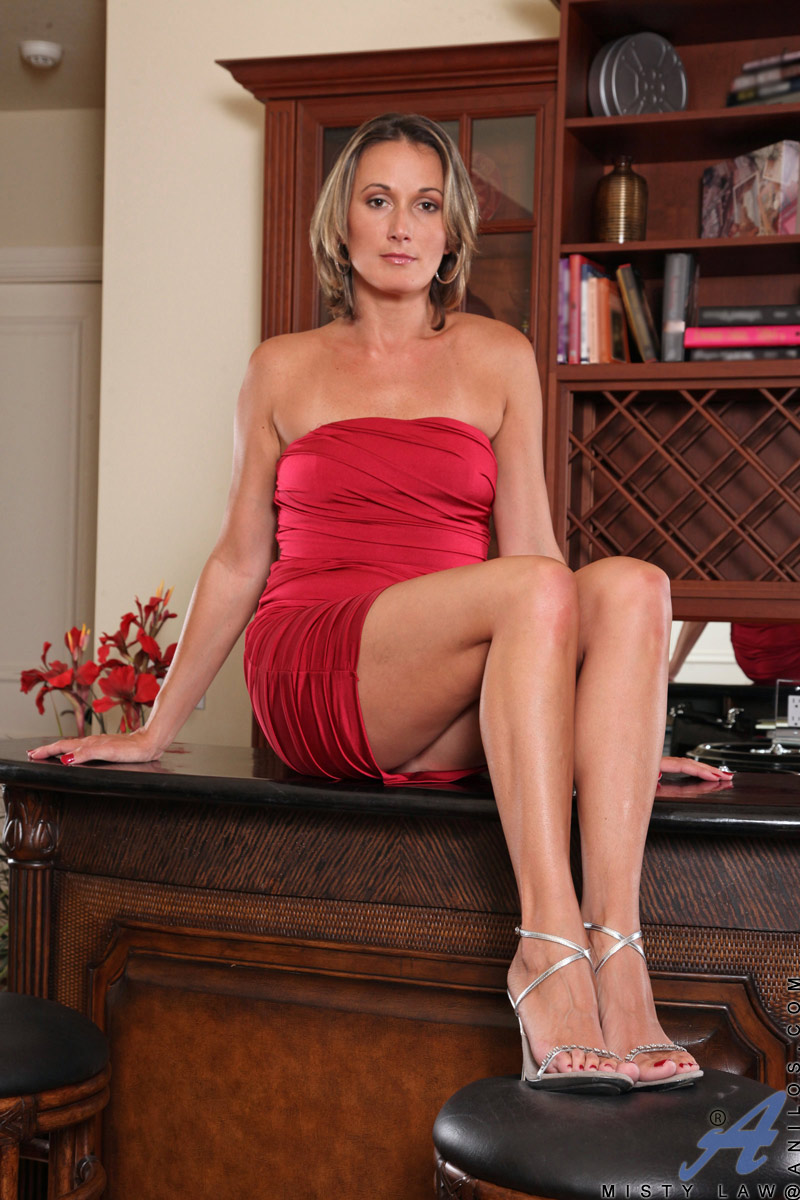 Mature Anilos Misty Law Teases Us In Her Naughty Red Mini -8168