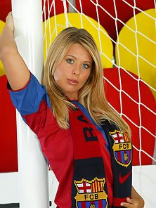 Busty Barcelona Football Fan