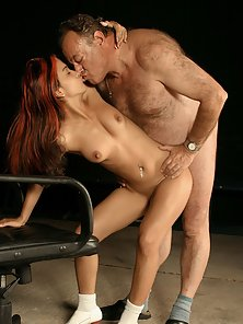 Tiny exotic beauty gets stuffed hard by a dirty old grandpa