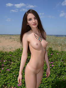 Sexy Brunette Teen Showing Her Small Tits and Nice Butt at Outdoor