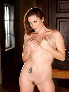 Aimee Sweet taking off her lace lingerie and gets on all fours