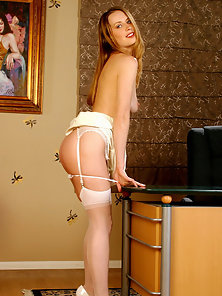 Gorgeous secretary Leila in white stockings