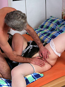 Teenage housemaid riding a senior his stiffy cock