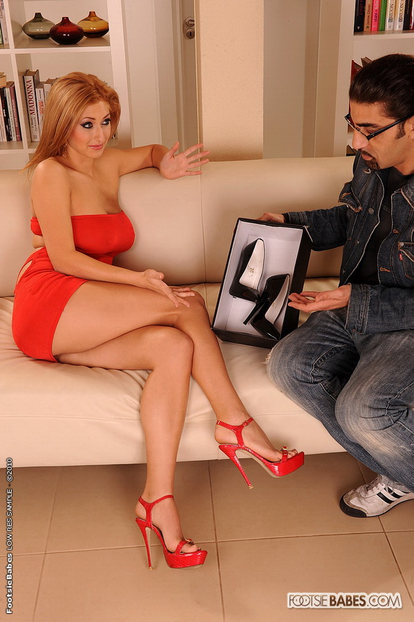 Busty Blonde Karina Shay Fucked In Red High Heels