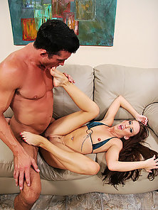 Long haired redhead takes a jizz splattering on her pink painted toes
