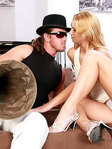 Horny and very sexy chick blowing his giant tuba hardcore