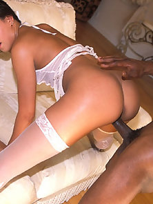 White girl in stockings gets her pussy fucked by a black cock