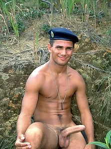 Hunk in camo shows his manly rod while outdoors