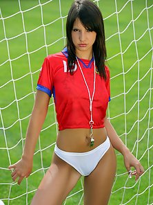 Stunning brunette beauty shows soccer some naked support