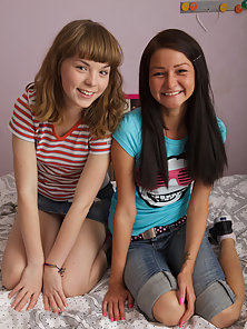 Two fascinating slim teen beauties fucking with lucky guy and getting cumshot on the bed.