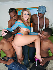Chick gets an intense black gangbang