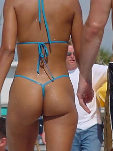 Hot beach chicks in thongs