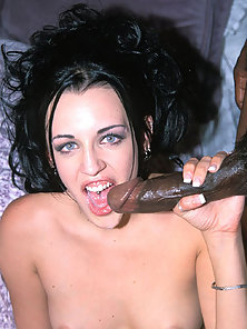 White babe gets her wet shaved pussy fucked by a black guy