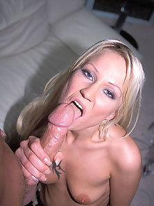 Hot blonde gets her pierced clit fucked and face jizzed on