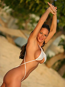 Hottie in white sling bikini