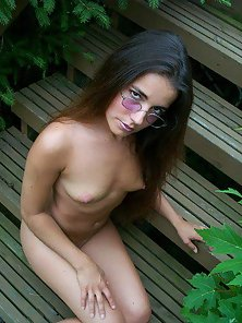Cute brunettes stripping outside