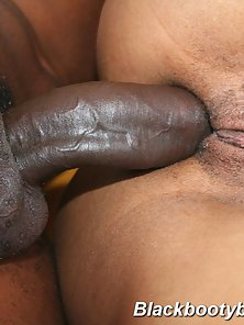 Meaty black cock buried deep in a plump pear shaped ass