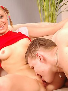 Innocent beauty gulps cum, when parents are away