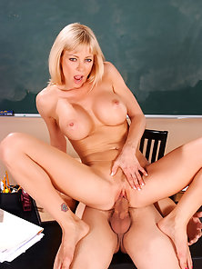 Busty blonde teacher fucks her student after class