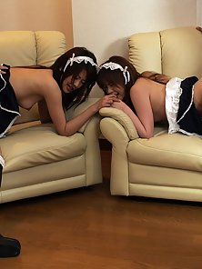 Three dirty Japanese maids sharing two stiff cocks