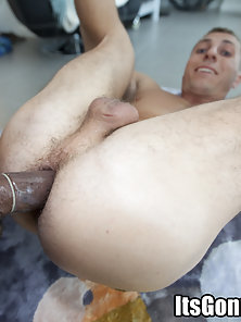 Straight guy has his first ass fucking, with this montser cock!