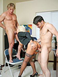 Busty blonsw secretary getting groupsex at work