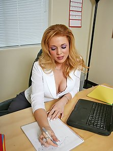 Busty office girl getting her pussy pounded hard by huge cock