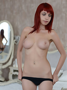 Red Haired Beauty Babe Strips Her Black Bikini and Views Big Boobs with Naked Body