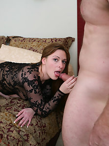 Beautiful Brunette Kylie Haze in Black Lingerie Gives Crazy Blowjob Passionately