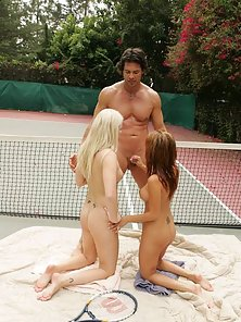 Sativa Rose & Saana get banged on a tennis court