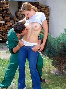 Naughty busty teen gets an outside fuckjob from the gardener