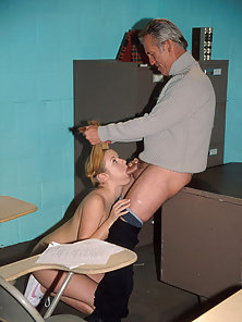 Young blonde sucks a teacher's cock and gets her pussy drilled hard.