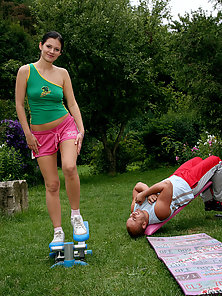 Cute teenie brunette enjoys a good fucking outdoor